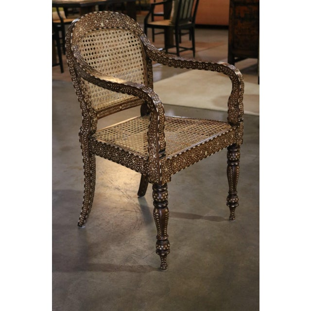 Asian Wood and Bone Inlay Armchair For Sale - Image 3 of 7