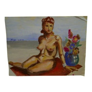 "Original Painting on Paper ""Nude Red"" by Tom Sturges Jr., 1948"