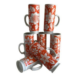 Boho Groovy Retro Floral Mugs, Set of Seven For Sale