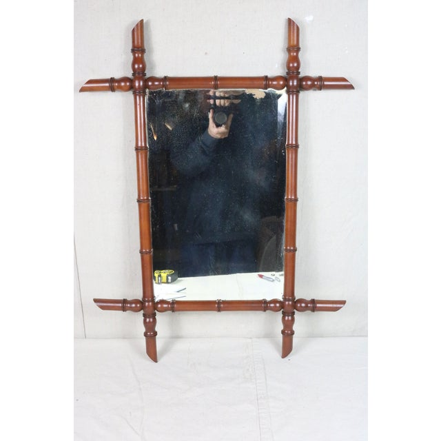 19th Century French Faux Bamboo Mirror For Sale - Image 6 of 6