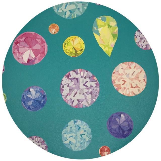 "Nicolette Mayer Jewel Cyan 16"" Round Pebble Placemats, Set of 4 For Sale"