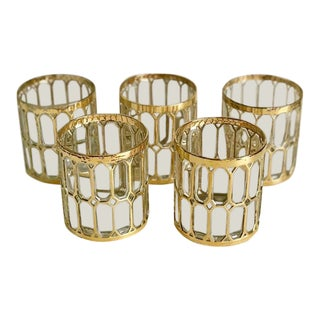 Mid Century Gilt Glasses, Set of 5 For Sale