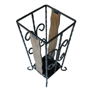 1970s Solid Wrought Iron and Wood Umbrella Stand For Sale