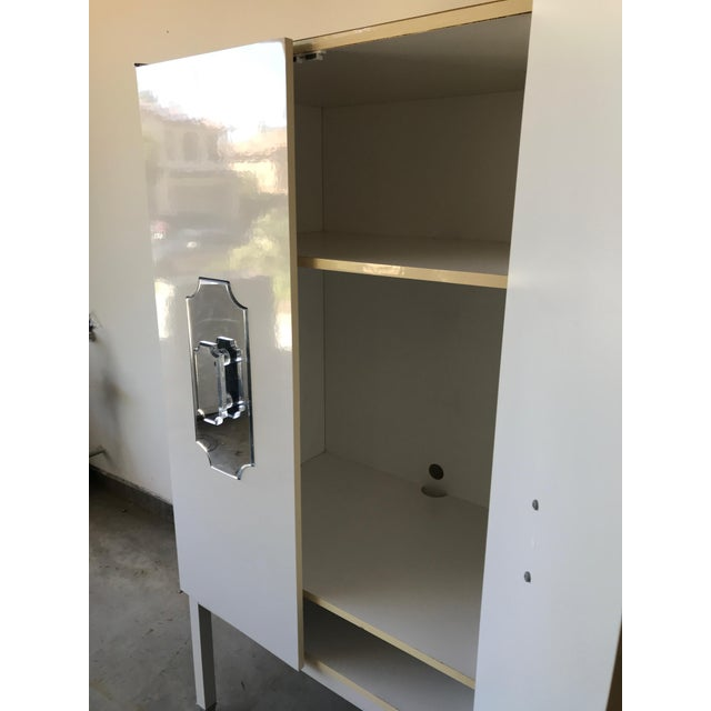 Glass Custom Large White Cabinet for Viceroy Palm Springs For Sale - Image 7 of 10