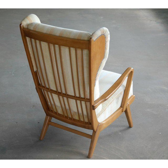 Wood Danish Midcentury Wingback Lounge Chair With Exposed Sides For Sale - Image 7 of 13