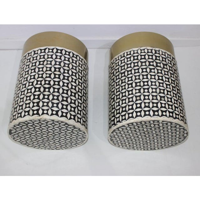Hollywood Regency Vintage Drum Tables Tessellated Black and White Bone - a Set of 2 For Sale - Image 3 of 13