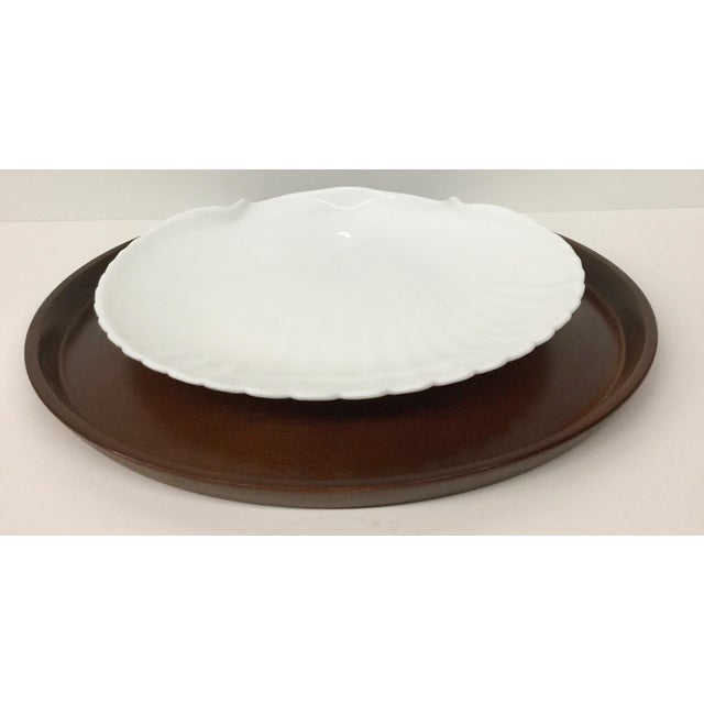 Very interesting set of a platter and plate holder. The dark walnut tray or platter can be used with any number of bowls...