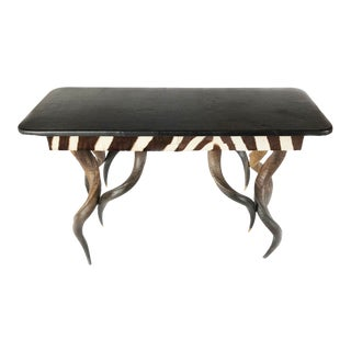 1990s African Zebra and Kudu Horn Exotic Credenza For Sale