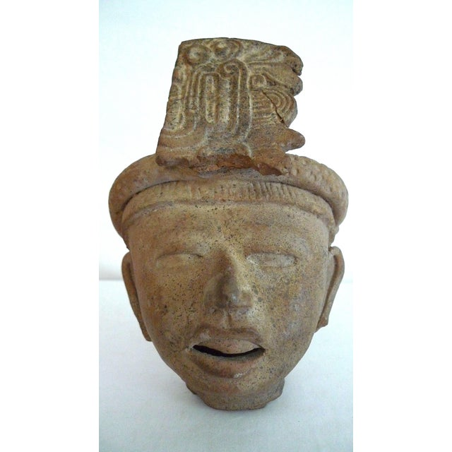 Stone Gray Mayan Pre-Columbian Feathered Headdress Bust, 5th to 7th Century Ce For Sale - Image 8 of 8