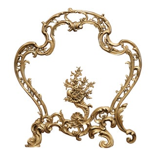 19th Century French Louis XV Rococo Carved Patinated Bronze Fireplace Screen For Sale