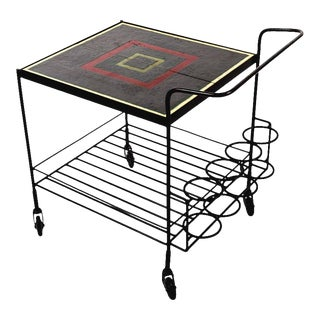 Metal and Tile Bar Cart For Sale