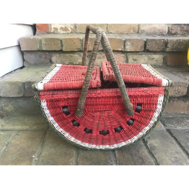 Fabulous vintage watermelon picnic basket. Perfect to use for display or to take out this spring and summer for lunch!...