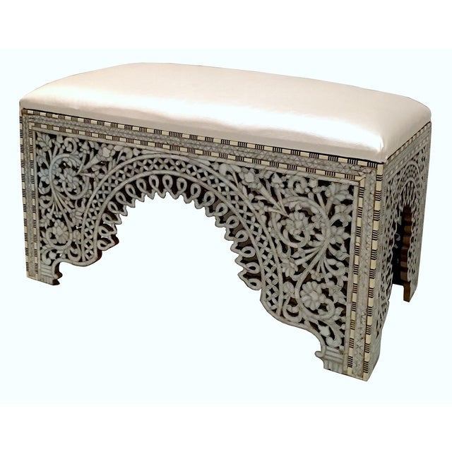 White Mother of Pearl Inlay Bench For Sale - Image 8 of 8