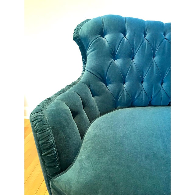 Luxurious velvet sofa with curved and tufted back. Ruched trim with excellent detail. Has had minimal use. Very...