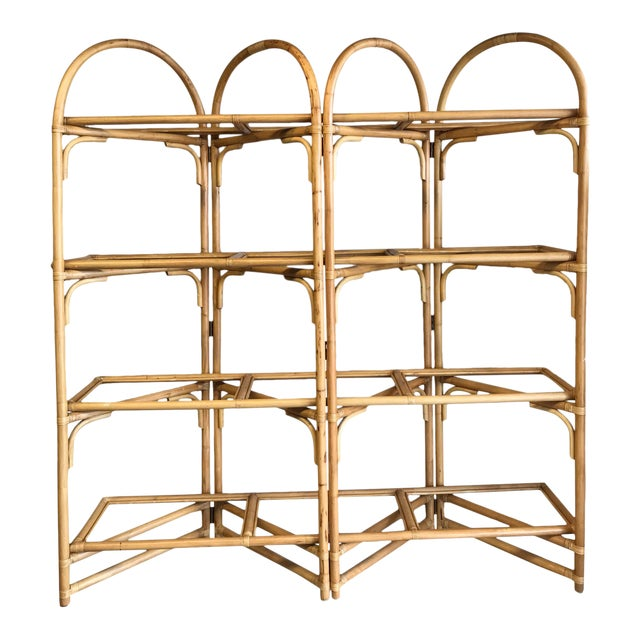 Palm Beach Style Rattan Shelving Unit For Sale
