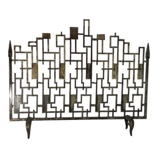 Cast Iron Cityscape Fireplace Screen For Sale