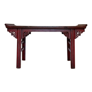 Chinese Red Altar Console Table For Sale