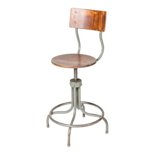 1940s French Industrial Wood and Steel Adjustable Swivel Stool For Sale