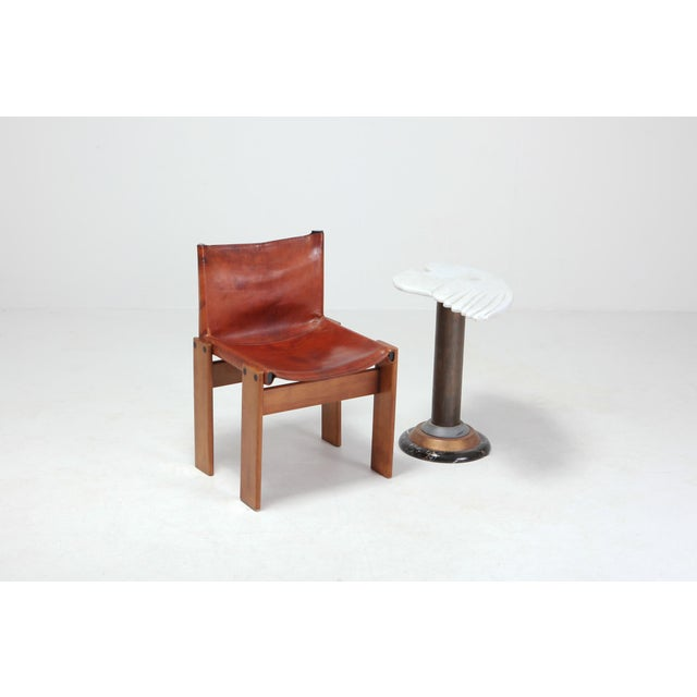 Brown Scarpa 'Monk' Chairs in Patinated Cognac Leather, Set of Four For Sale - Image 8 of 11