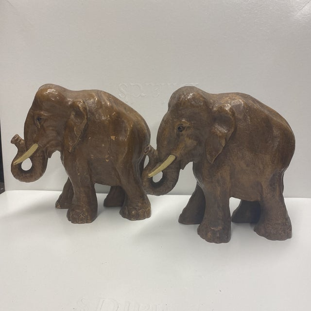 Brown Boho Chic Wood Elephants - a Pair For Sale - Image 8 of 8