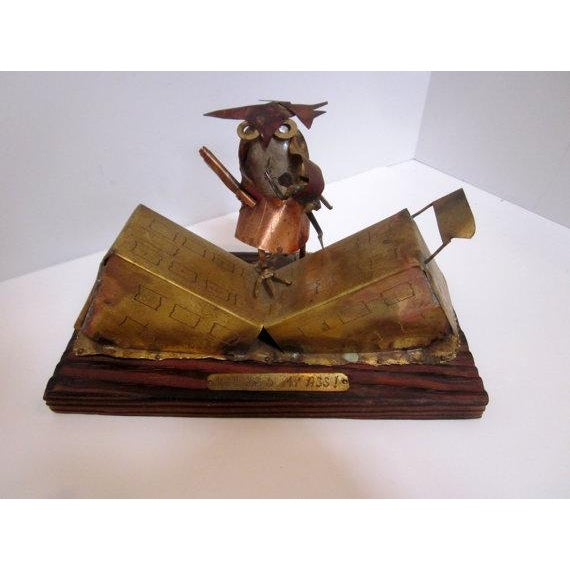 Pardon the pun, but this vintage Mid-Century metal owl sculpture is a hoot! This brass and copper folk art sculpture...