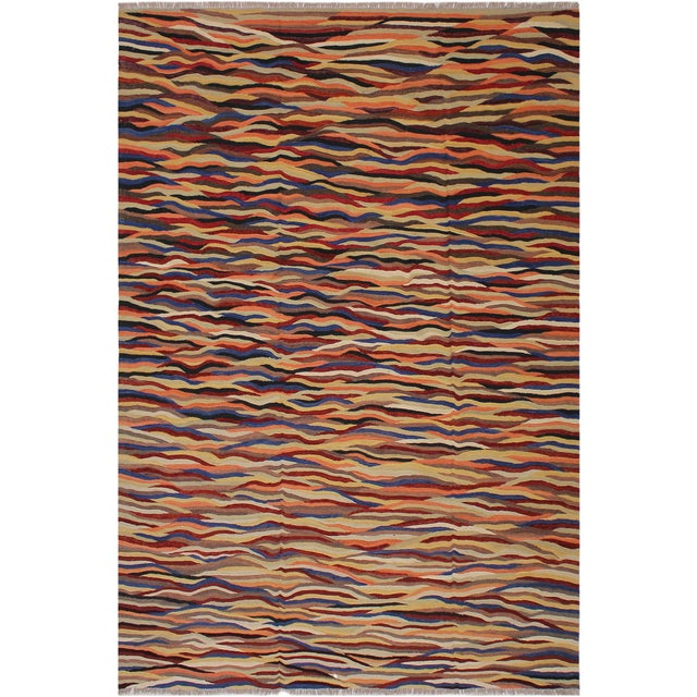 Red Abstract Expressionism Candis Hand-Woven Kilim Wool Rug - 8′4″ × 9′9″ For Sale - Image 8 of 8