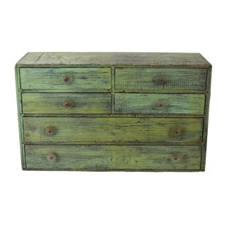 Rustic Green Plywood Industrial Parts Storage Cabinet W Lucite Washer Pulls For Sale