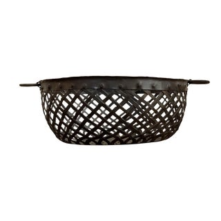 20th Century French Hand-Wrought Cast Iron Basket with Loop Handles For Sale