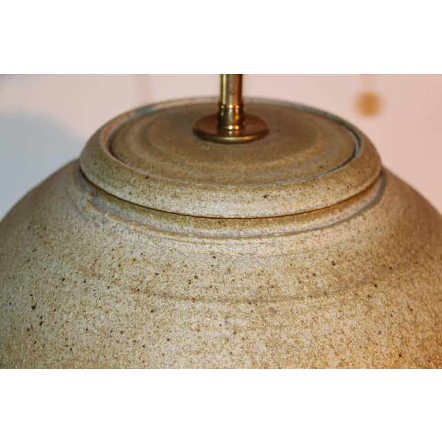 Large Bulbous Mid-Century Pottery Lamp For Sale - Image 4 of 6