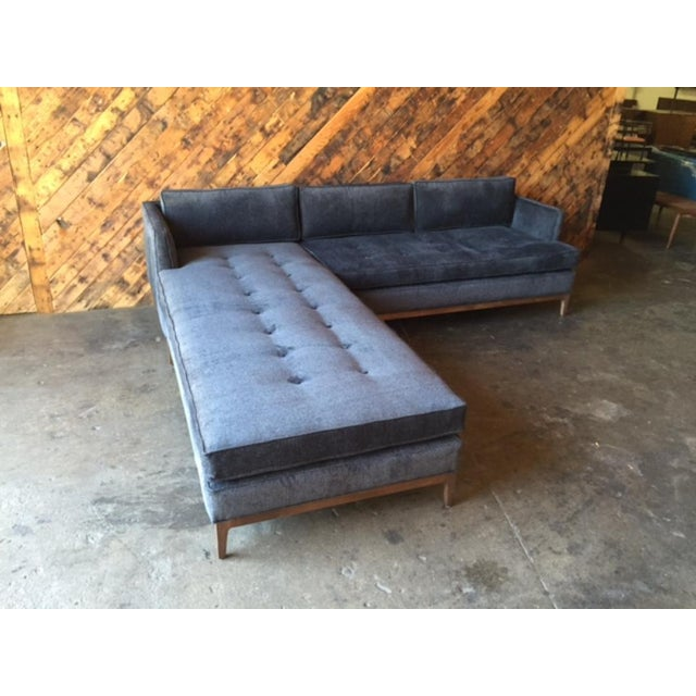Mid Century Style Custom Reversible Sofa Chaise Lounge Fabric Milky Way newly built, reversible chaise lounge, walnut wood...