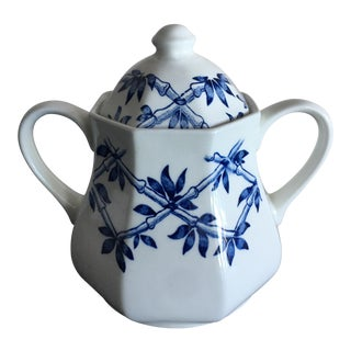 English Blue & White Trellis Sugar Bowl