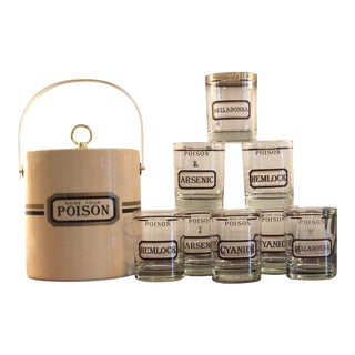 1960s Name Your Poison Rocks Glasses and Ice Bucket - Set of 9 For Sale