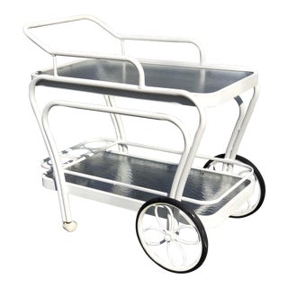 Patio Bar Cart / Server in White by Winston For Sale