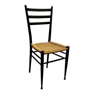 Gio Ponti Style Mid Century Black Ladder Back and Natural Rope Chair For Sale