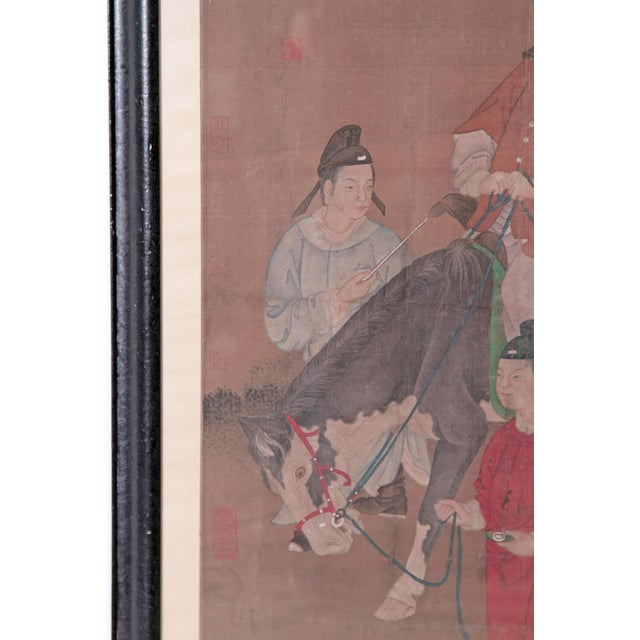Asian Chinese Scroll Painting of a Dignitary on Horseback For Sale - Image 3 of 11