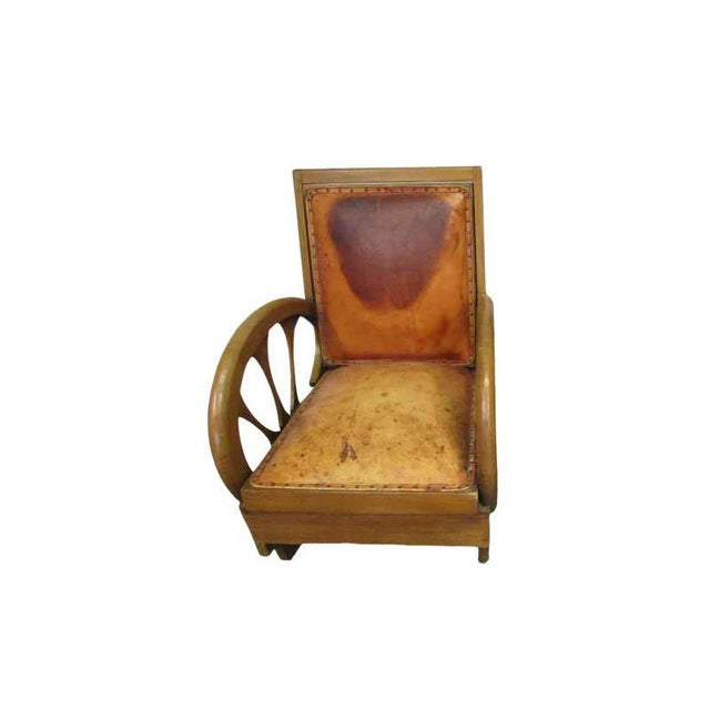 Carved Wood & Leather Lounge Chairs For Sale