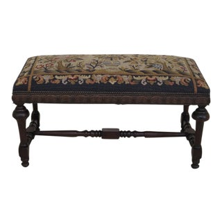 1930s Vintage Needlepoint Walnut Window Bench