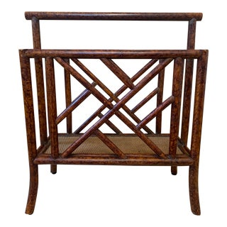 Faux Tortoise Rattan Chippendale Fretwork Magazine Holder For Sale