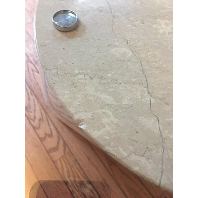 Italian Marble and Oval Glass Cantilevered Coffee Table For Sale - Image 10 of 12