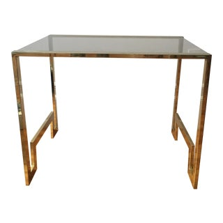 Hollywood Regency Smoked Glass Chrome Side Table