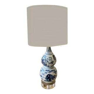 19th Century Chinese Blue and White Bottle Vase Lamp For Sale