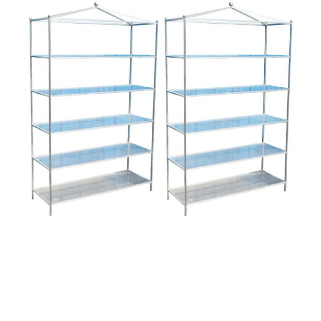 Mid-Century Modern Mid-Century Modern Chrome & Lucite Etagere For Sale - Image 3 of 8