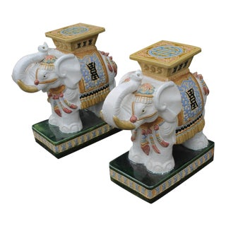 20th Century Chinoiserie Elephant Garden Stools Side Tables - a Pair For Sale