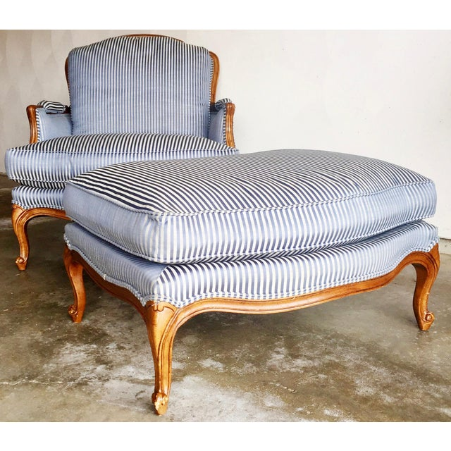 Vintage Heritage Bergere Chair & Ottoman - Image 2 of 10