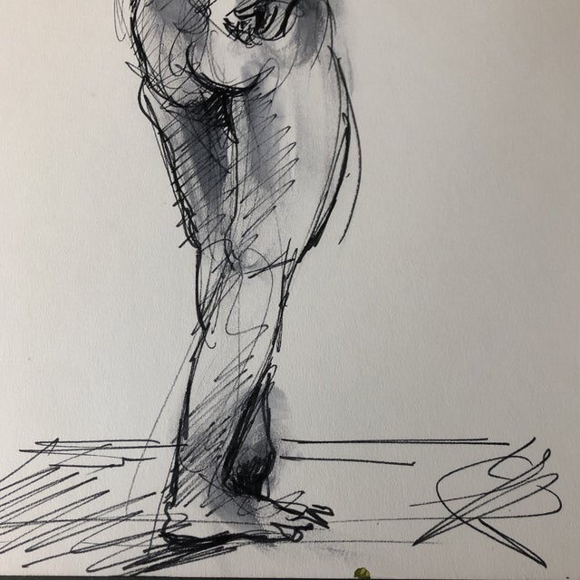 Expressionism Vintage Original Ink Wash Female Nude Double Sided Painting For Sale - Image 3 of 5