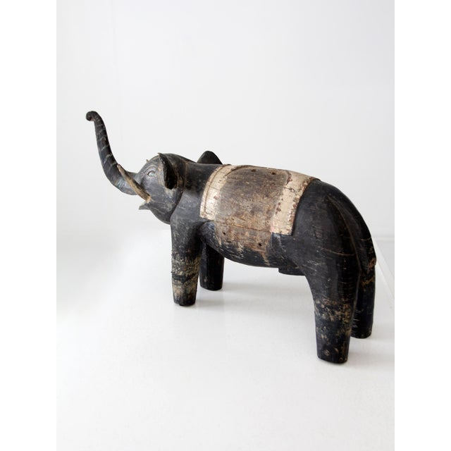 Antique Wooden Elephant For Sale - Image 4 of 10
