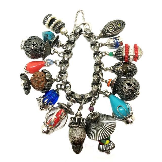 Mid-Century Modern 1950's Napier Jeweled Lantern Charm Bracelet For Sale - Image 3 of 6