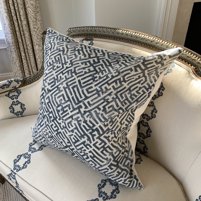 Zak & Fox Basilica Blue and Natural Linen Pillow For Sale In New York - Image 6 of 7