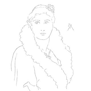 """Sarah Myers """"Lady in Coat and Jewels"""" Contemporary Line Drawing For Sale"""