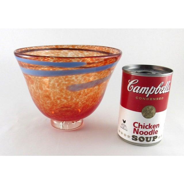 Hand Blown Mottled Orange Art Glass Bowl For Sale - Image 9 of 10